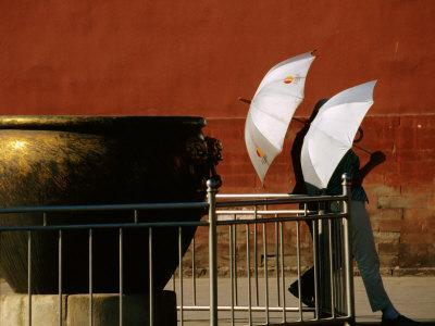 Two Young Women with Umbrellas Standing Beside Water Urn, Forbidden City, Beijing, China