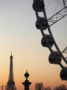 Ferry Wheel in Place De La Concorde with Eiffel Tower in the Background Near Sunset, Paris, France by Bruce Yuanyue Bi