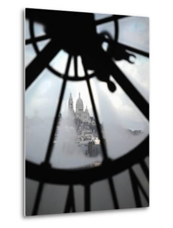 The View of Sacre Coeur Basilica from Clock in Cafe of Musee D'Orsay (Orsay Museum), Paris, France