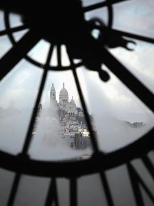 The View of Sacre Coeur Basilica from Clock in Cafe of Musee D'Orsay (Orsay Museum), Paris, France by Bruce Yuanyue Bi