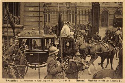 Brüssel, König Leopold Iii, Kutsche, Empfang 1934--Giclee Print