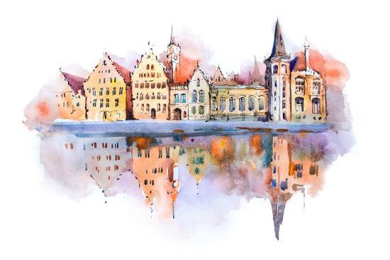 Bruges Cityscape Watercolor Drawing, Belgium. Brugge Canal Aquarelle Painting- undrey-Art Print