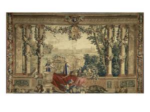 Les Maisons royales. Octobre, signe du Scorpion : promenade de Louis XIV en vue du château des by Brun Charles Le