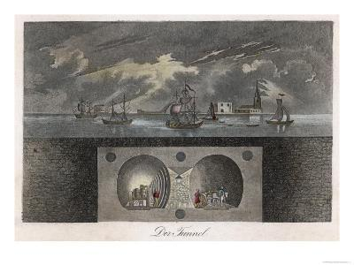 Brunel's Thames Tunnel, a Cross-Section Showing the Tunnel and Ships Sailing on the River--Giclee Print