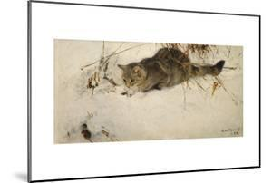 A Cat Stalking a Mouse in the Snow, 1892 by Bruno Andreas Liljefors