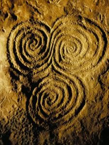 Carvings on Stone, New Grange (Newgrange) Site, County Meath, Leinster, Eire (Ireland) by Bruno Barbier