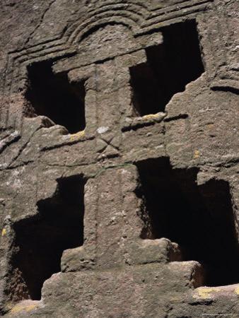 Cross on Christian Bieta Danaghel, Vierges Martyres, Town of Lalibela, Wollo Region, Ethiopia by Bruno Barbier