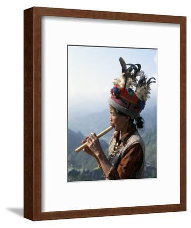 Ifugao Person Playing a Pipe, Northern Area, Island of Luzon, Philippines, Southeast Asia