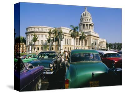 Old 1950s American Cars Outside El Capitolio Building, Havana, Cuba
