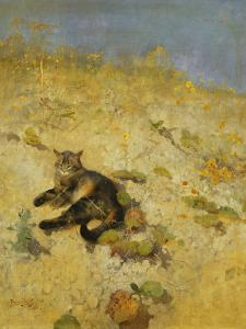 A Cat Basking in the Sun by Bruno Liljefors