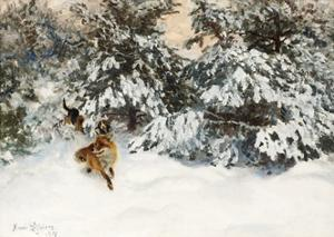 Winter Landscape with Fox and Hounds by Bruno Liljefors
