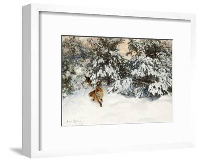 Winter Landscape with Fox and Hounds