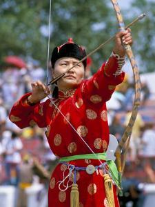 Archery Contest, Naadam Festival, Oulaan Bator (Ulaan Baatar), Mongolia, Central Asia by Bruno Morandi