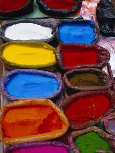Brightly Coloured Powder for Offerings, Kathmandu, Kathmandu Valley, Nepal, Asia by Bruno Morandi