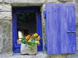 Close-Up of Blue Shutter, Window and Yellow Pansies, Villefranche Sur Mer, Provence, France by Bruno Morandi