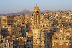 Elevated View of the Old City of Sanaa, UNESCO World Heritage Site, Yemen, Middle East by Bruno Morandi