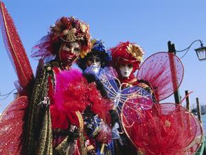 People Wearing Masked Carnival Costumes, Venice Carnival, Venice, Veneto, Italy by Bruno Morandi