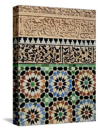 Tile and Stucco Decoration, Ali Ben Youssef Medersa, Marrakech (Marrakesh), Morocco, Africa