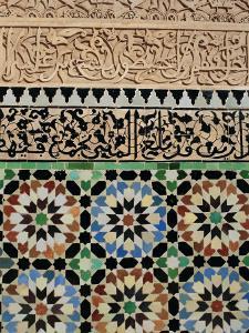 Tile and Stucco Decoration, Ali Ben Youssef Medersa, Marrakech (Marrakesh), Morocco, Africa by Bruno Morandi