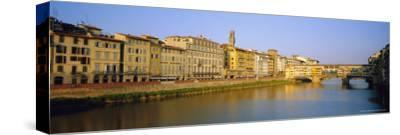 View Along River Arno to Ponte Vecchio, Florence, Tuscany, Italy