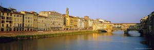 View Along River Arno to Ponte Vecchio, Florence, Tuscany, Italy by Bruno Morandi