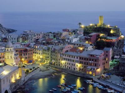 Village of Vernazza in the Evening, Cinque Terre, Unesco World Heritage Site, Liguria, Italy by Bruno Morandi
