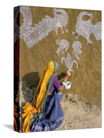 Woman Painting Designs on Her House, Tonk Region, Rajasthan State, India