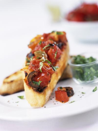 Bruschetta with Tomatoes and Olives-Ian Garlick-Photographic Print