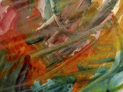 Brush Strokes on Abstractly Painted Background--Photographic Print