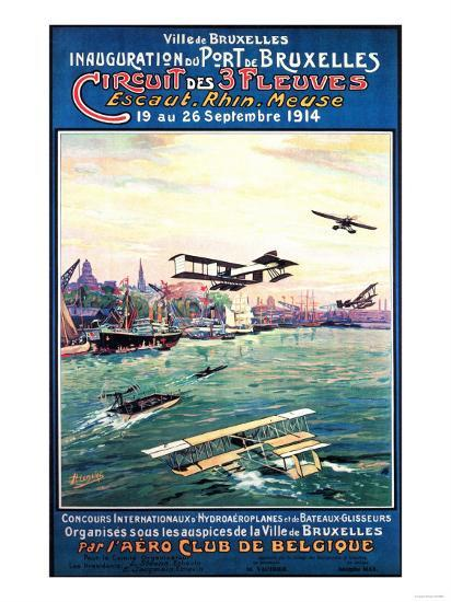 Brussels, Belgium - Cancelled Float Plane Promotional Poster-Lantern Press-Art Print