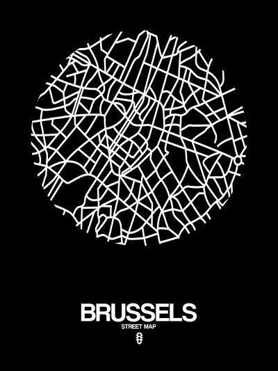 Brussels Street Map Black-NaxArt-Art Print