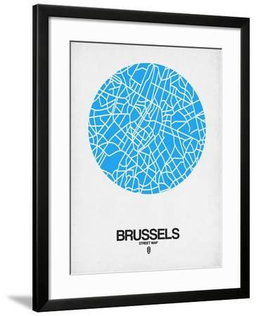 Brussels Street Map Blue-NaxArt-Framed Art Print