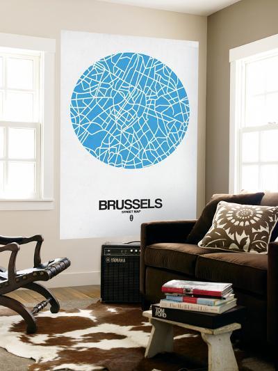 Brussels Street Map Blue-NaxArt-Wall Mural