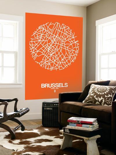Brussels Street Map Orange-NaxArt-Wall Mural