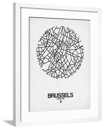 Brussels Street Map White-NaxArt-Framed Art Print