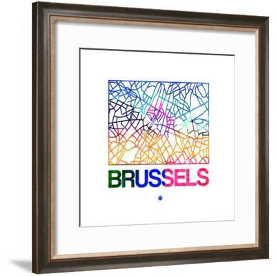 Brussels Watercolor Street Map-NaxArt-Framed Premium Giclee Print