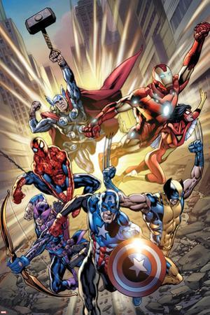 Avengers #12.1 Cover: Captain America, Hawkeye, Wolverine, Spider-Man, Iron Man, and Others by Bryan Hitch