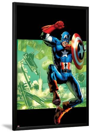Captain America: Man Out of Time No.4 Cover: Captain America Jumping with his Shield