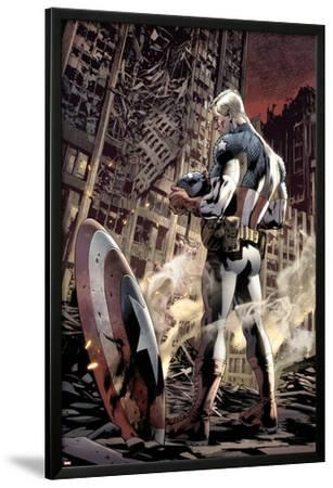 Ultimate Fallout No.6 Cover: Captain America Standing, Looking at his Shield
