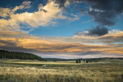 A Sunset Sky Hangs Over The Yellowstone River In The Hayden Valley, Yellowstone National Park