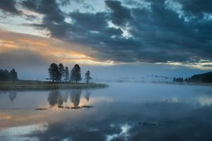 Birds On A Sunrise Flight Over The Yellowstone River In The Hayden Valley by Bryan Jolley