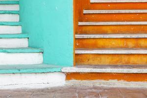 Mexico, Quintana Roo, Yucatan Peninsula, Isla Mujeres, Colorful Steps by Bryan Mullennix