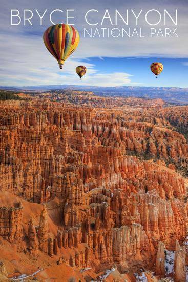 Bryce Canyon National Park, Utah - Hot Air Balloons-Lantern Press-Art Print