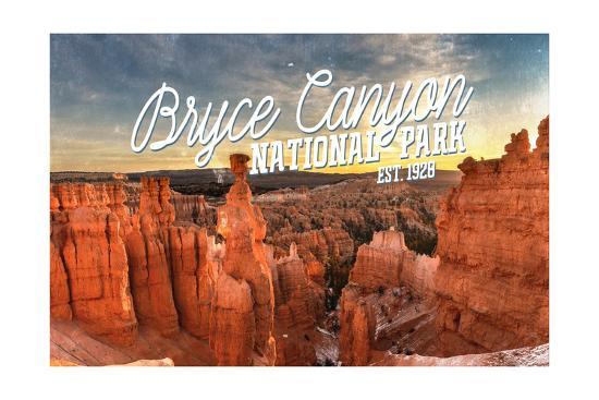 Bryce Canyon National Park, Utah - Script Thors Hammer-Lantern Press-Art Print