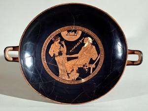 Attic Red-Figure Cup Depicting Phoenix and Briseis, Achilles' Captive, circa 490 BC by Brygos Painter
