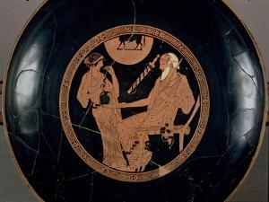 Attic Red-Figure Cup Depicting Phoenix and Briseis, Achilles' Captive, Greek, circa 490 BC by Brygos Painter