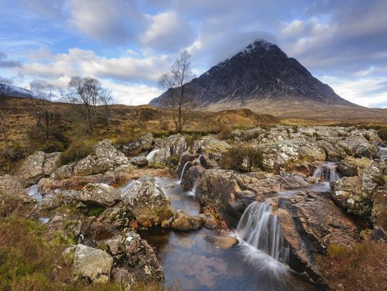 Buachaille Etive Mor and the River Coupall, Glen Etive, Rannoch Moor, Western Highlands, Scotland-Chris Hepburn-Photographic Print