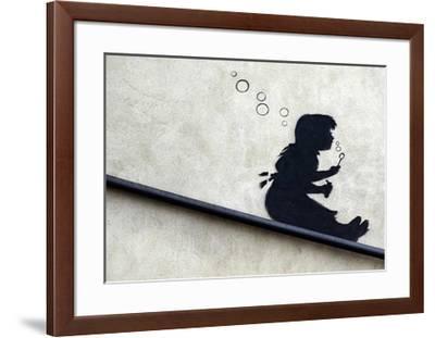 Bubble Girl-Banksy-Framed Giclee Print