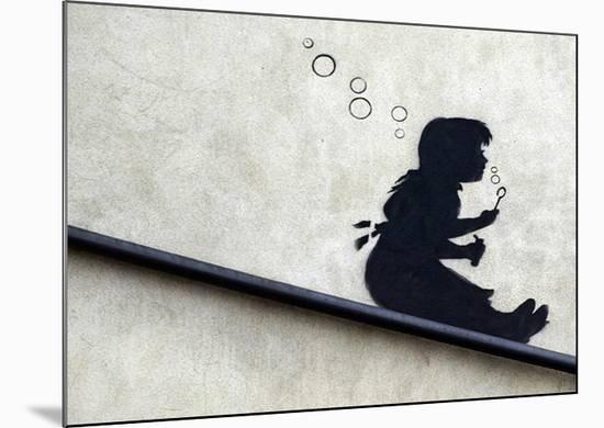 Bubble Girl-Banksy-Mounted Giclee Print