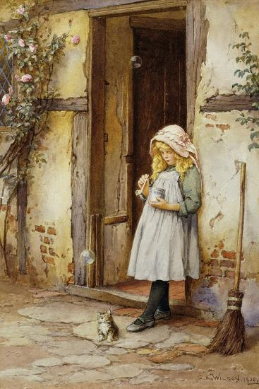 Bubbles for Kitty, 1908-Charles Edward Wilson-Giclee Print